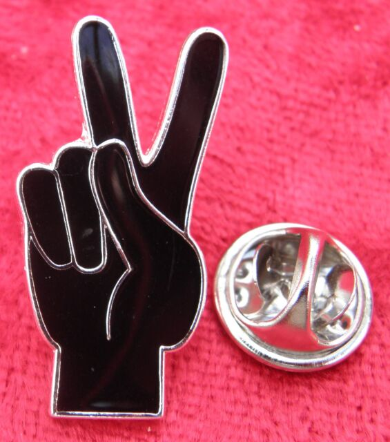 Peace Sign Hand V Symbol Lapel Pin Badge Victory Gesture Anti War