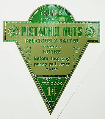 COLUMBUS, PISTACHIO NUTS, VENDING, COINOP, WATER TRANSFER DECAL # DC 1027