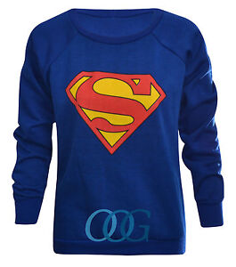 Womens-Ladies-Superman-Superwoman-Print-Sweatshirt-Jumper-Pullover-Top-Size-8-14