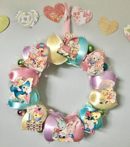 Pastel Easter Wreath Vintage Slvestri Spun Silk Eggs Bunny Chick Lamb Card Image