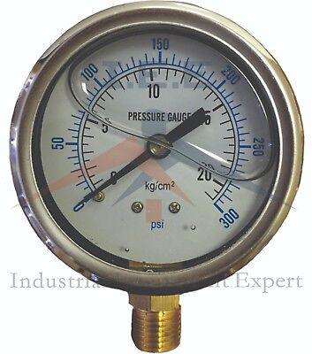 Liquid Filled 2.5 300 Psi Air Pressure Gauge Lower Mnt Side Mount