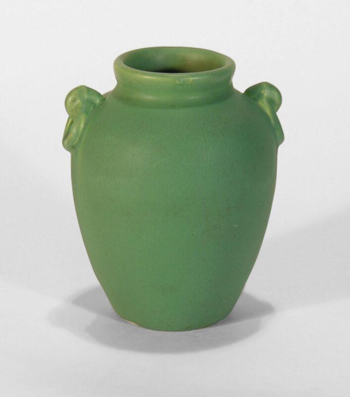 Camark Pottery matte green Arts & Crafts ring handled vase Camden Arkansas