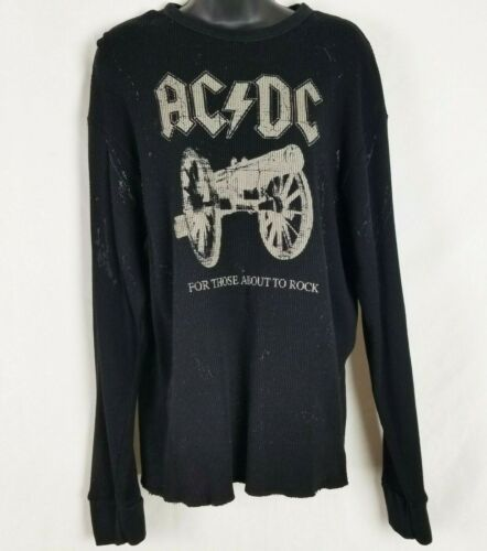 AC DC T Shirt  Long Sleeve For Those About to Rock Thermal Black Sz L Unisex