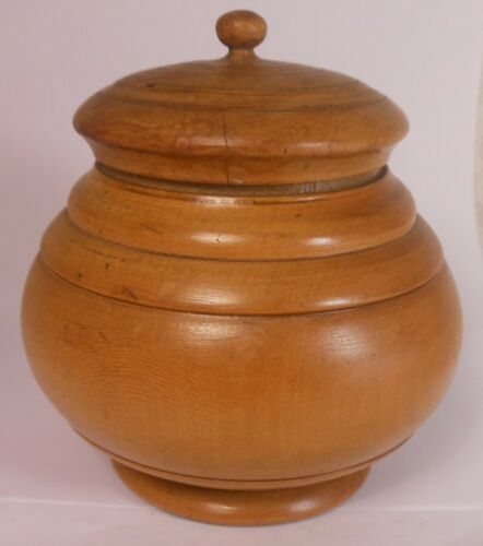 Antique Turned Wood Peaseware Treen Container Jar With Cover