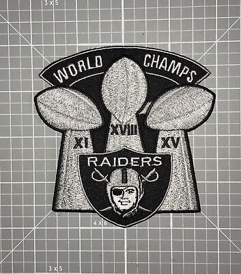 Oakland Raiders Jersey Patch  World Champs  3 Super Bowl Trophy Iron Sew On New