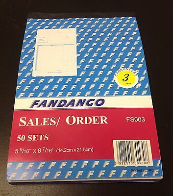 Sales Order Book Receipt Book 50 Triplicate Forms Carbonless 5.5x8.5