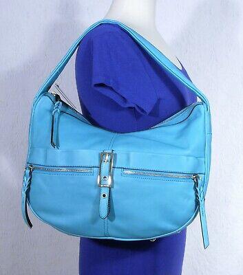 New B Makowsky Teal Turquoise Blue Large Leather Hobo Purse Handbag Wow! /CM