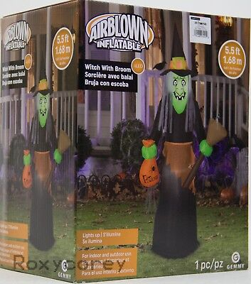 Halloween Gemmy 5.5 ft Witch with Broom & Potions Airblown Inflatable NIB