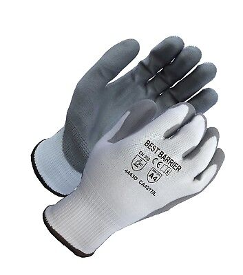 Ansi Cut Resistant Level 4 Grey Pu Palm Coated Gloves 12 Pairs