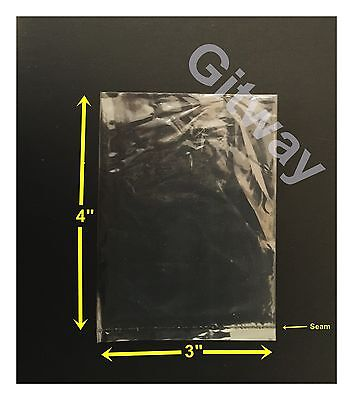 "1000 - 3"" x 4"" Polyethylene Clear Flat Food Grade 3x4 Plastic Bag Bags Baggies"