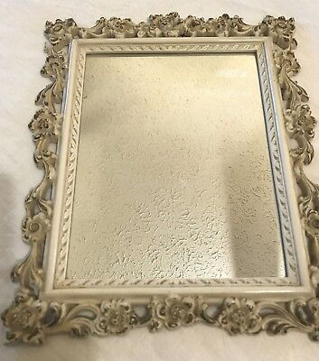 "Vintage Hanging Mirror Syroco Shabby Chic Distressed White Gold Filigree 11""x13"""