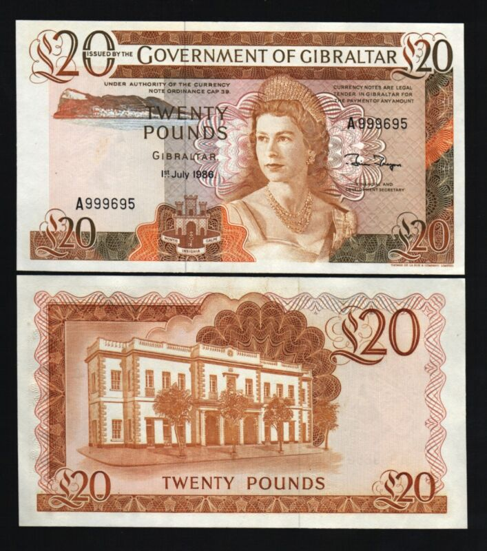 GIBRALTAR 20 POUNDS P-23 1986 QUEEN GOVERNOR UNC RARE CURRENCY UK GB BANK NOTE