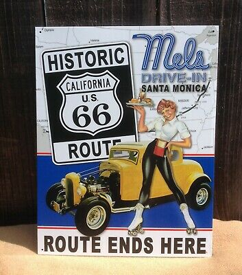 Mels Diner Santa Monica Drive In Route 66 Tin Metal Sign Wall Garage Classic Bar