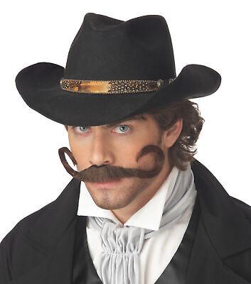 BROWN GUNSLINGER MUSTACHE WILD WEST COWBOY COSTUME ACCESSORY CC70088 - Gunslinger Mustache