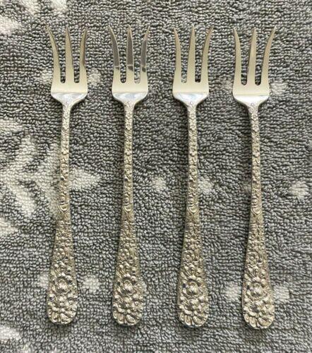 KIRK STIEFF Stieff Rose Sterling Cocktail / Oyster Forks, Set of 4