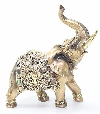 "Feng Shui 7"" Gold Elephant Trunk Statue Wealth Lucky Figurine Gift Home Decor"