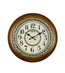 Ornate Round Wooden Wall Clock with Gold Rose and Diamond Accents