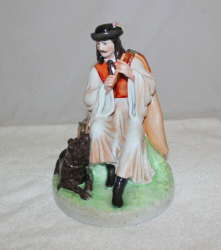 Zsolnay Hungary Porcelain Statue Man With Flute