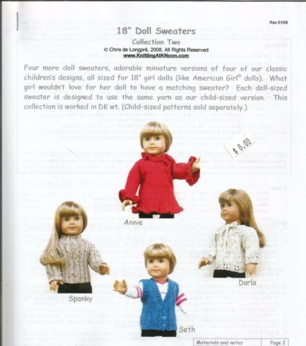 "18"" Doll Sweaters #2 to knit Clothing Knitting Pattern KNOON fits American Girl"