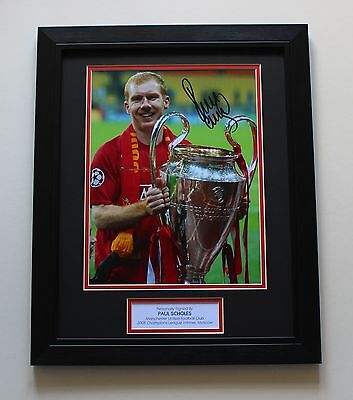 FRAMED PAUL SCHOLES Manchester United HAND SIGNED Autograph Photo Mount + COA
