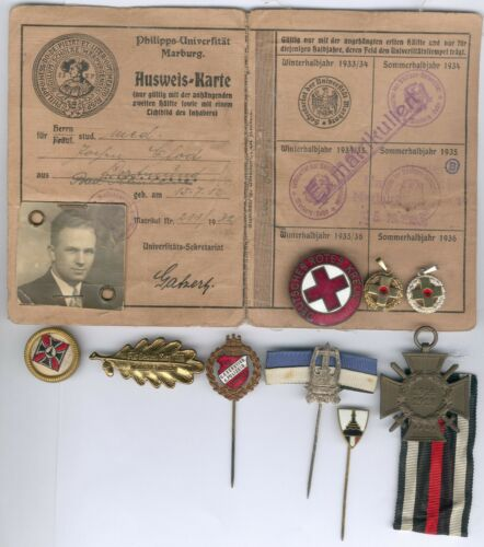 Old German Lot 11 Item´s WWII - Red Cross Philipps-Universität Marburg etc.....