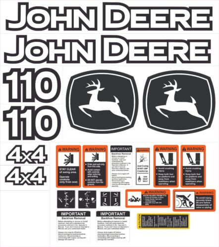 John Deere 110 Backhoe Aftermarket Decal Kit - With controls and warnings