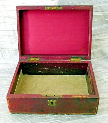 Antique Red Leather Box by Melliship & Harris London