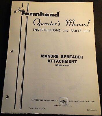 Farmhand Manure Spreader Attachment Operators And Parts Manual Fs236-253 511