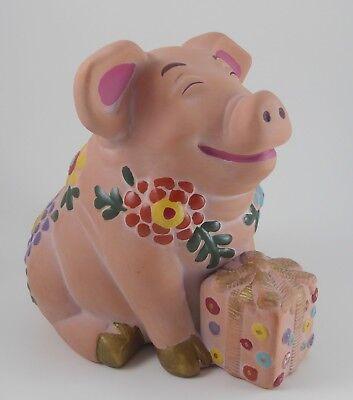 Divine Killip Pottery Terra Cotta Floral Pig Piggy Bank w/Gift