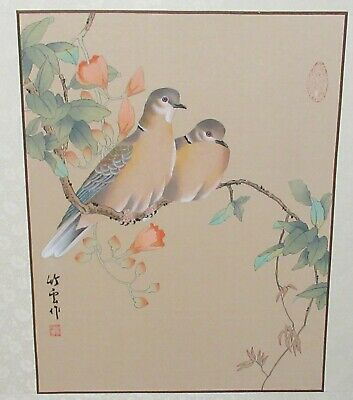 CHINESE PIGEON BIRDS ORIGINAL WATERCOLOR PAINTING SIGNED
