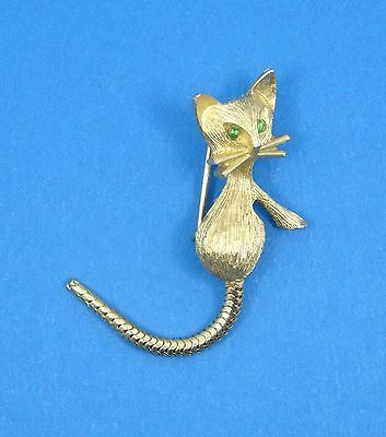 VINTAGE CUTEST CAT with GREEN EYES and MOVABLE TAIL PIN BROOCH ~ 1