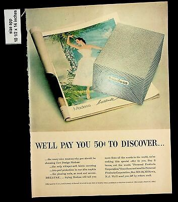 1956 Modess New Design Fabric Covering Vintage Print Ad 8344