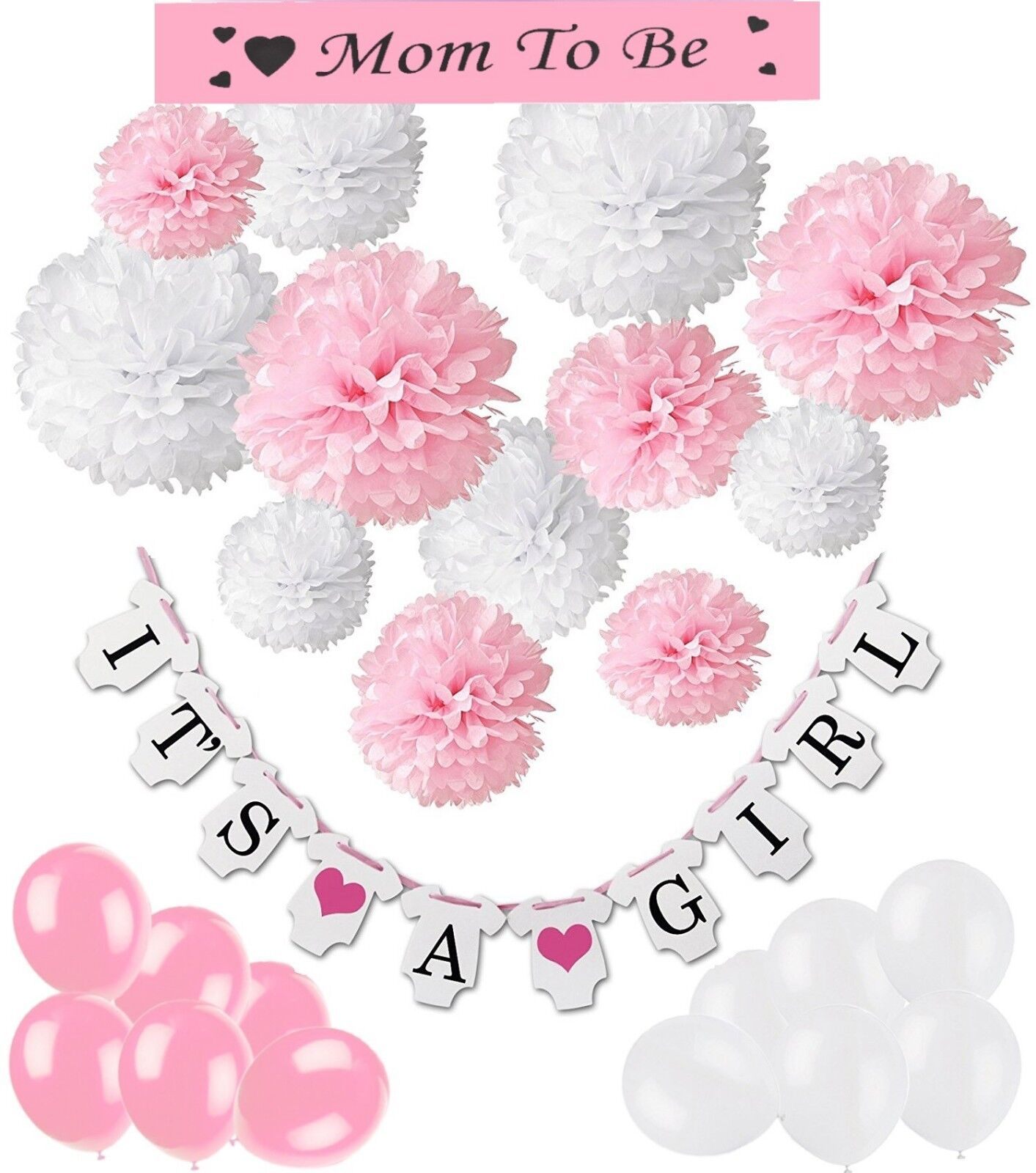 "Babyshower-  Babyparty Deko Pompons-Girlande ""It´s a girl""-Luftballons-Schärpe"