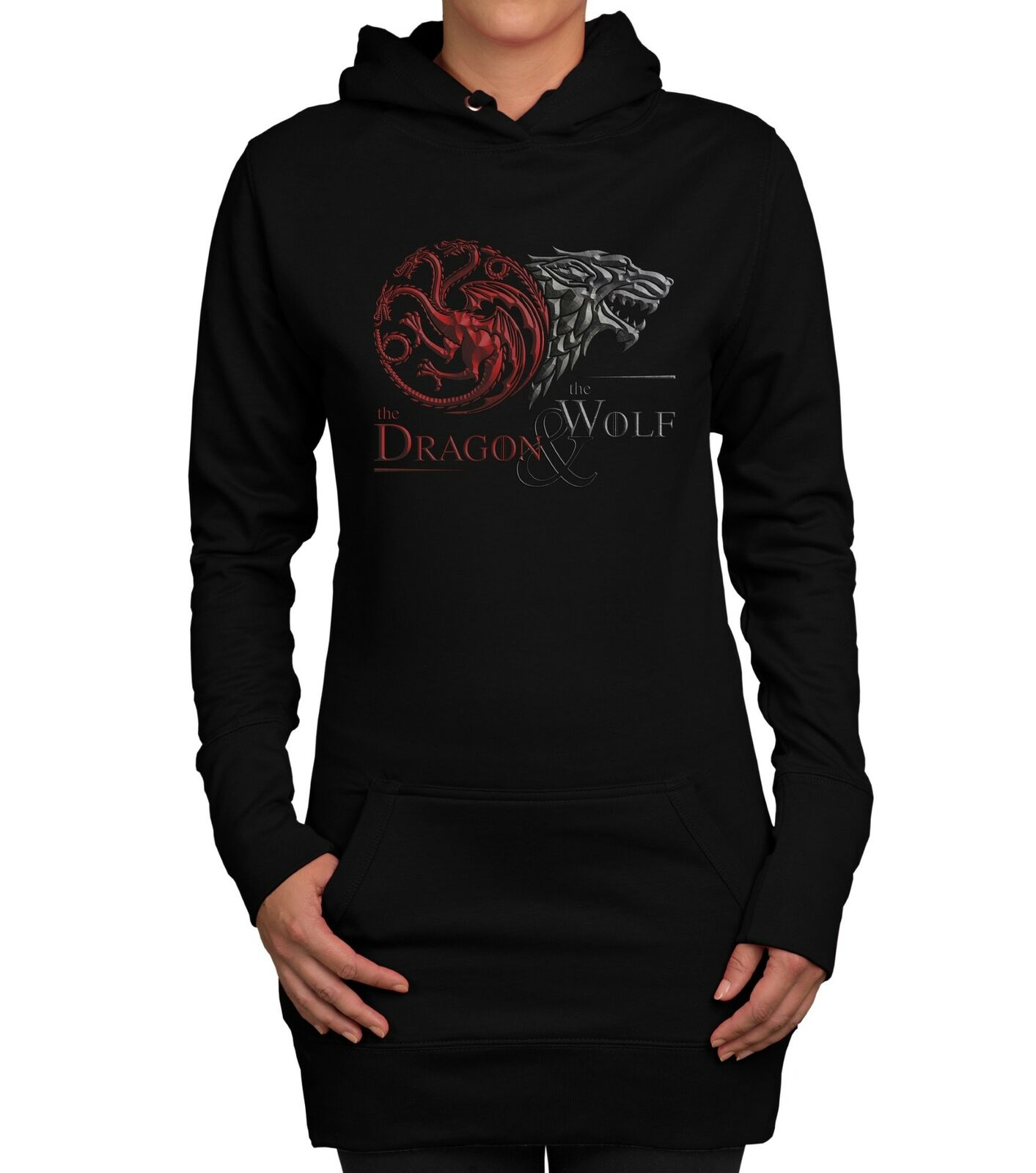Game of Thrones – Damen Long Hoodie – Dragon and Wolf Wappen – Winter Stark Fan