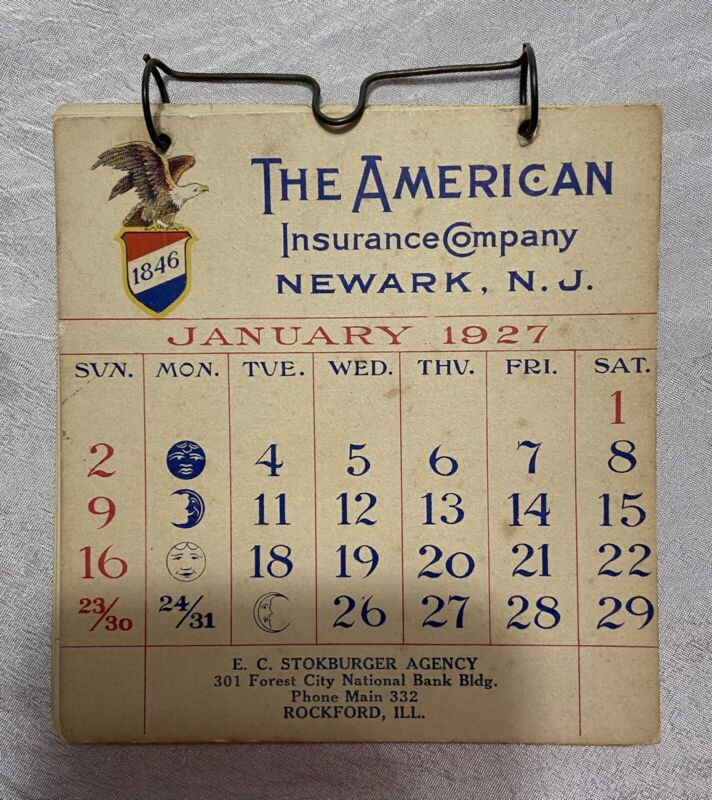 "Vintage Hanging Flip Calendar 1927 American Insurance Co. Rockford Illinois 4.5"""
