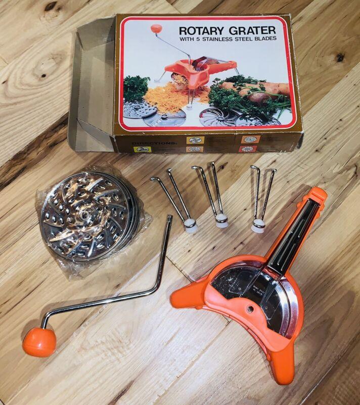 Vintage Norpro Rotary Grater w/ 5 Blades-Slicer/Julienne/Grate/Shred Orig. Box