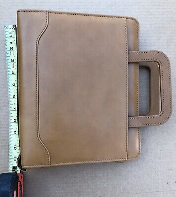 Franklin Covey Quest 7 Ring Binder Planner Brown Aniline Leather With Handles