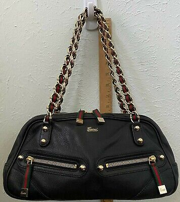 Vintage Gucci Leather Shoulder Bag w/ Gucci Stripe/Chain Handles - Black