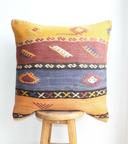 "Handmade Kilim PILLOW CUSHION COVER - Anatolian Ethnic Unique Pillow 24"" x 24"""