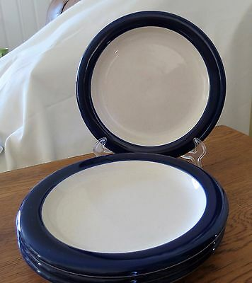 - Set of 4 Mikasa Color Complements Navy Band Dessert/Salad/Bread & Butter Plates