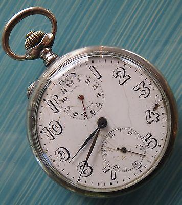 Angelus Alarm Pocket Watch open face silver case 51 mm. in diameter
