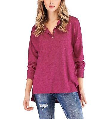 Womens V Neck Henley Shirts Long Sleeve Button Up Plain Tunic Tops Tees