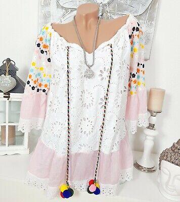Hippie Tunika Stickerei Bommel Oversize Pompons Bluse Rosa Weiß Shirt 38 40 42