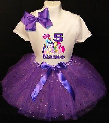 My Little Pony --With NAME-- 5th Birthday Dress shirt 2pc purple Tutu - My Little Pony Tutu