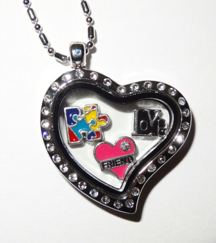 Autism Awareness Locket Necklace yes Fit Origami Owl Floating Charm