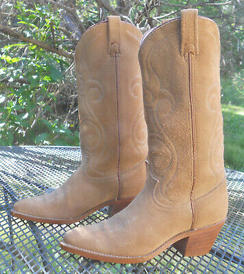 VINTAGE USA Acme Roughout Suede WESTERN Boots Classic J-TOE Cowboy Women 7.5