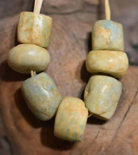 Ancient Amazonite Natural Stone Beads Excavated From Mauritania, African Trade