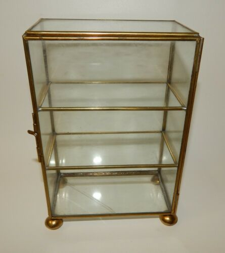 Vintage Brass Glass Small Footed Curio Miniature Display Cabinet Case