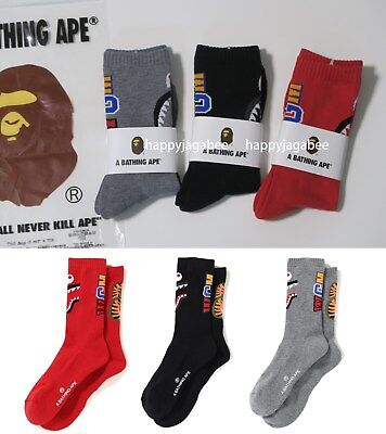 A BATHING APE Goods Men's SHARK SOCKS 3colors From Japan new
