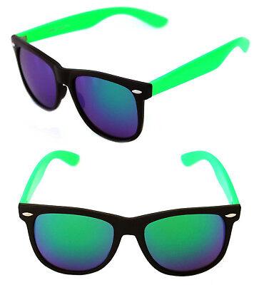 Men's Women's Large Frame Sunglasses Horn Rimmed  Retro Neon Green Black Mirror](Neon Green Sunglasses)